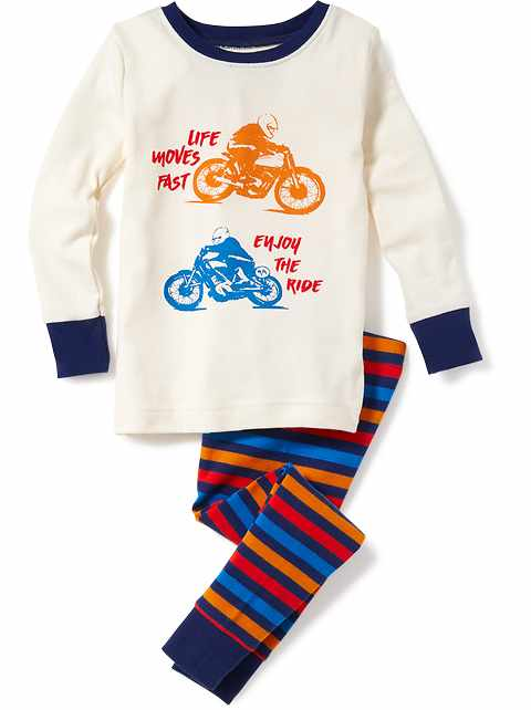 2-Piece Motorcycle-Graphic Sleep Set for Toddler & Baby