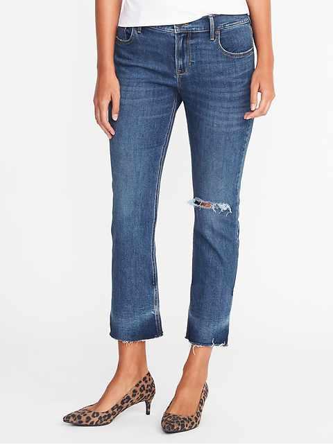 Mid-Rise Distressed Flare Ankle Jeans for Women