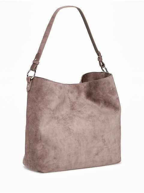 Slouchy Faux-Suede Hobo for Women