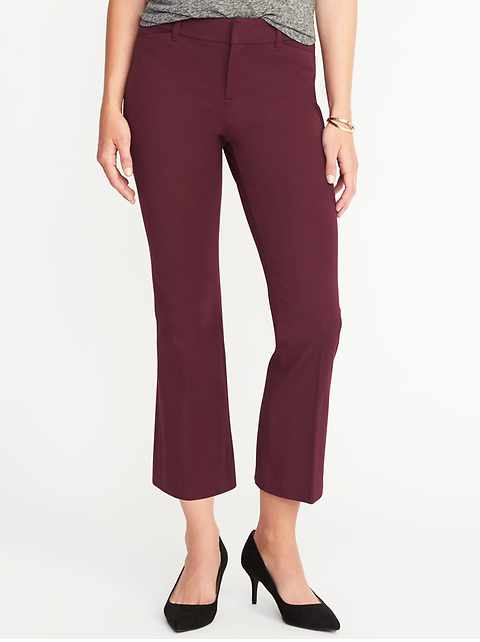 Mid-Rise Pixie Flare Ankle Pants for Women