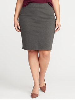 Secret-Slim Plus-Size Ponte-Knit Pencil Skirt