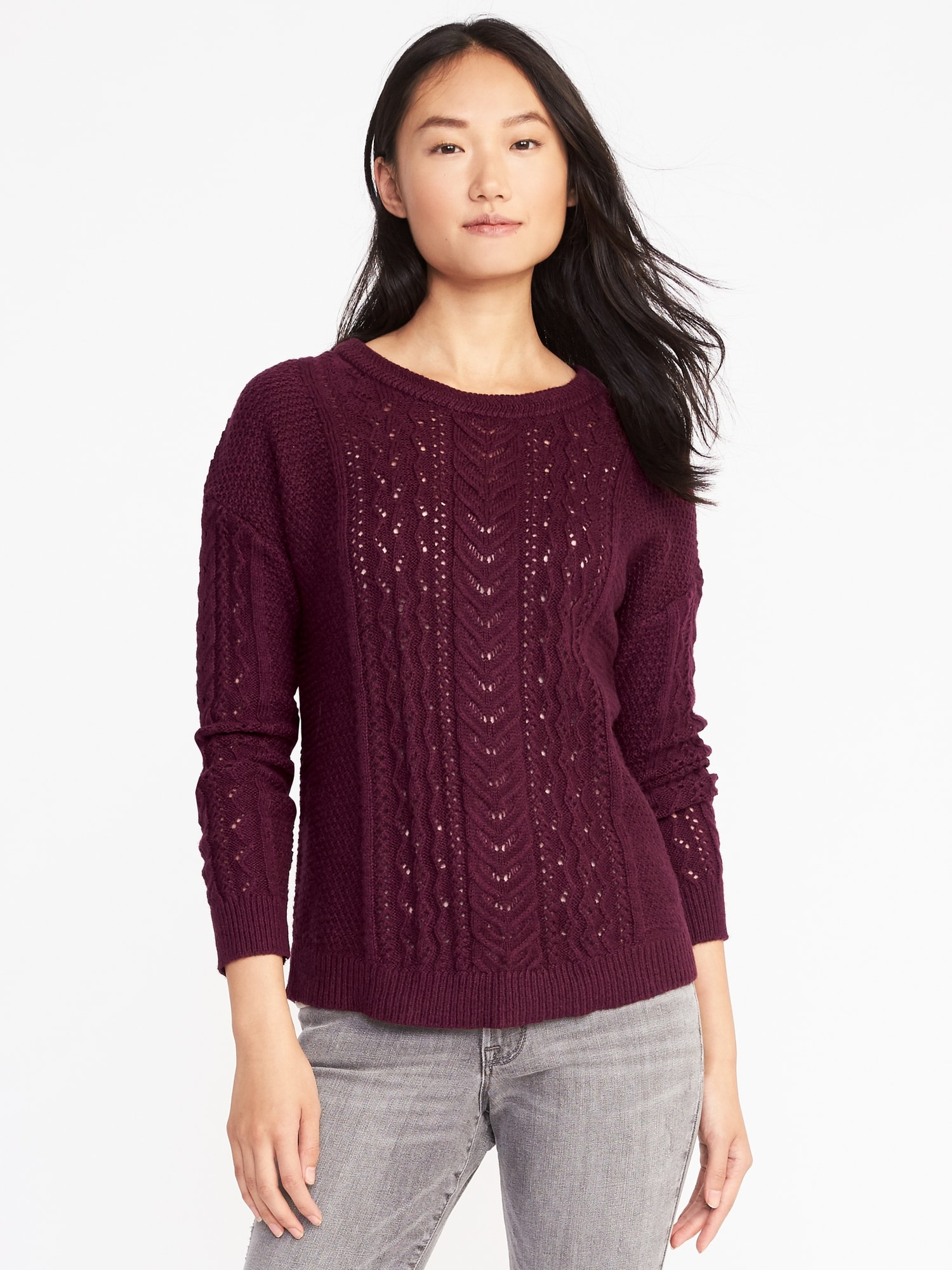 Relaxed Cable-Knit Sweater for Women | Old Navy