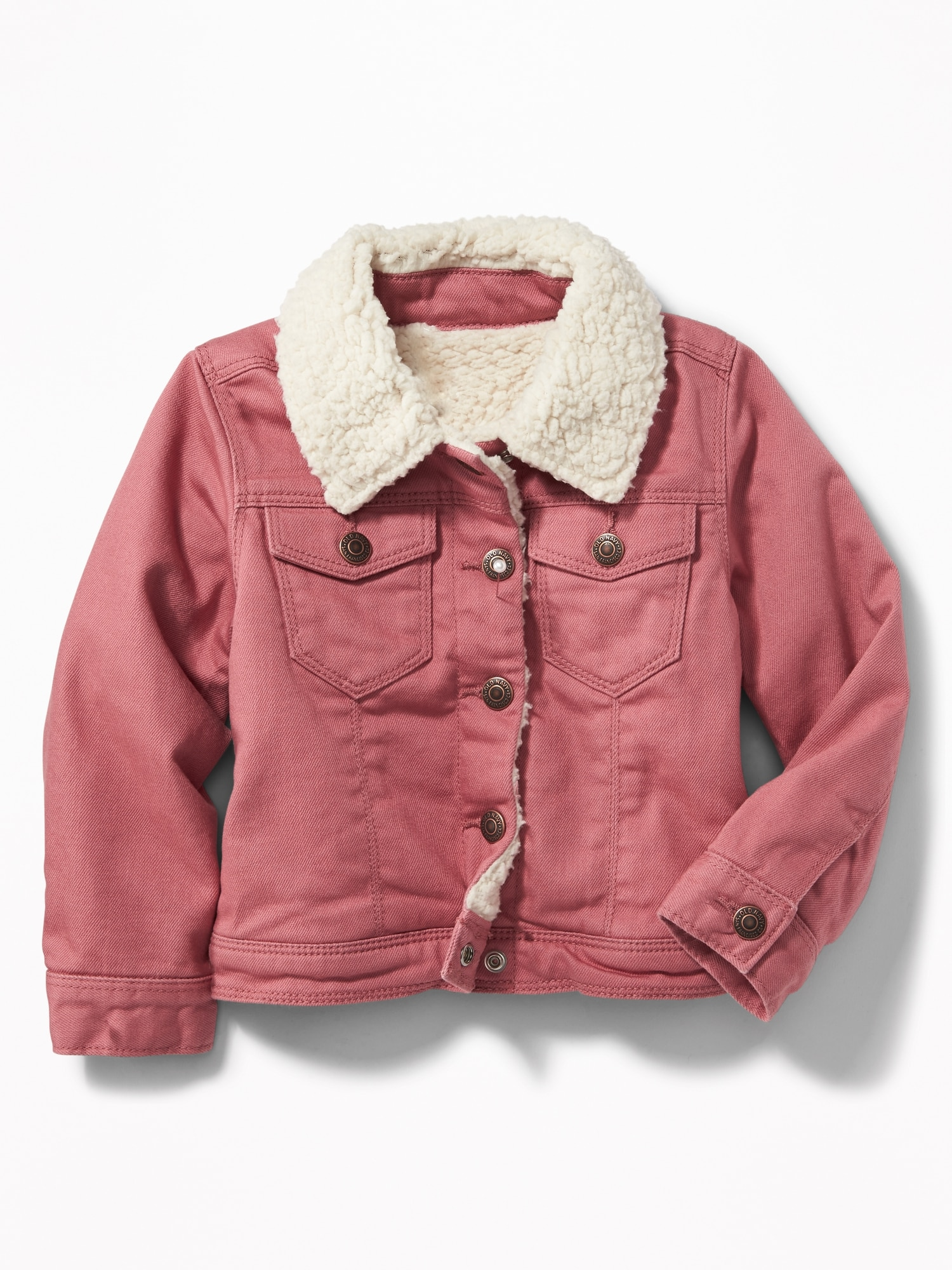 Sherpa-Lined Pink Trucker Jacket for Toddler Girls | Old Navy