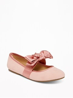 Sueded Satin-Bow Ballet Flats for Girls
