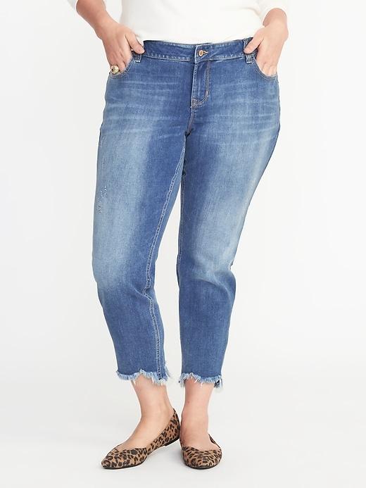 Plus-Size Boyfriend Skinny Raw-Edge Jeans