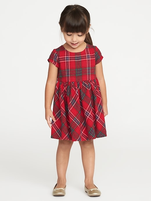 Plaid Fit Amp Flare Dress For Toddler Girls Old Navy