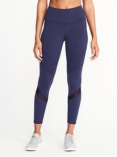 High-Rise 7/8-Length Moto Compression Leggings for Women