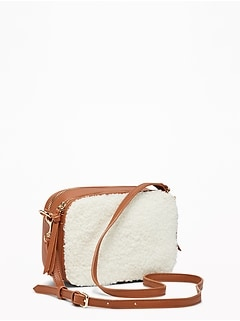Sherpa/Faux-Leather Camera Bag for Women