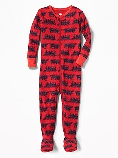 Locomotive-Print Footed One-Piece Sleeper for Toddler & Baby