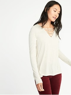 Relaxed Lace-Up-Yoke Sparkle-Knit Top for Women