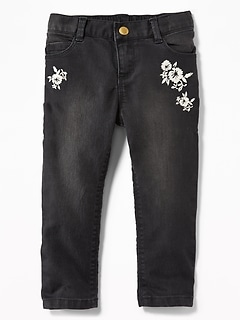 Floral-Embroidered Ballerina Black Jeans for Toddler Girls