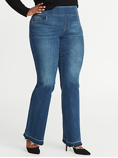 High-Rise Plus-Size Pull-On Boot-Cut Jeans
