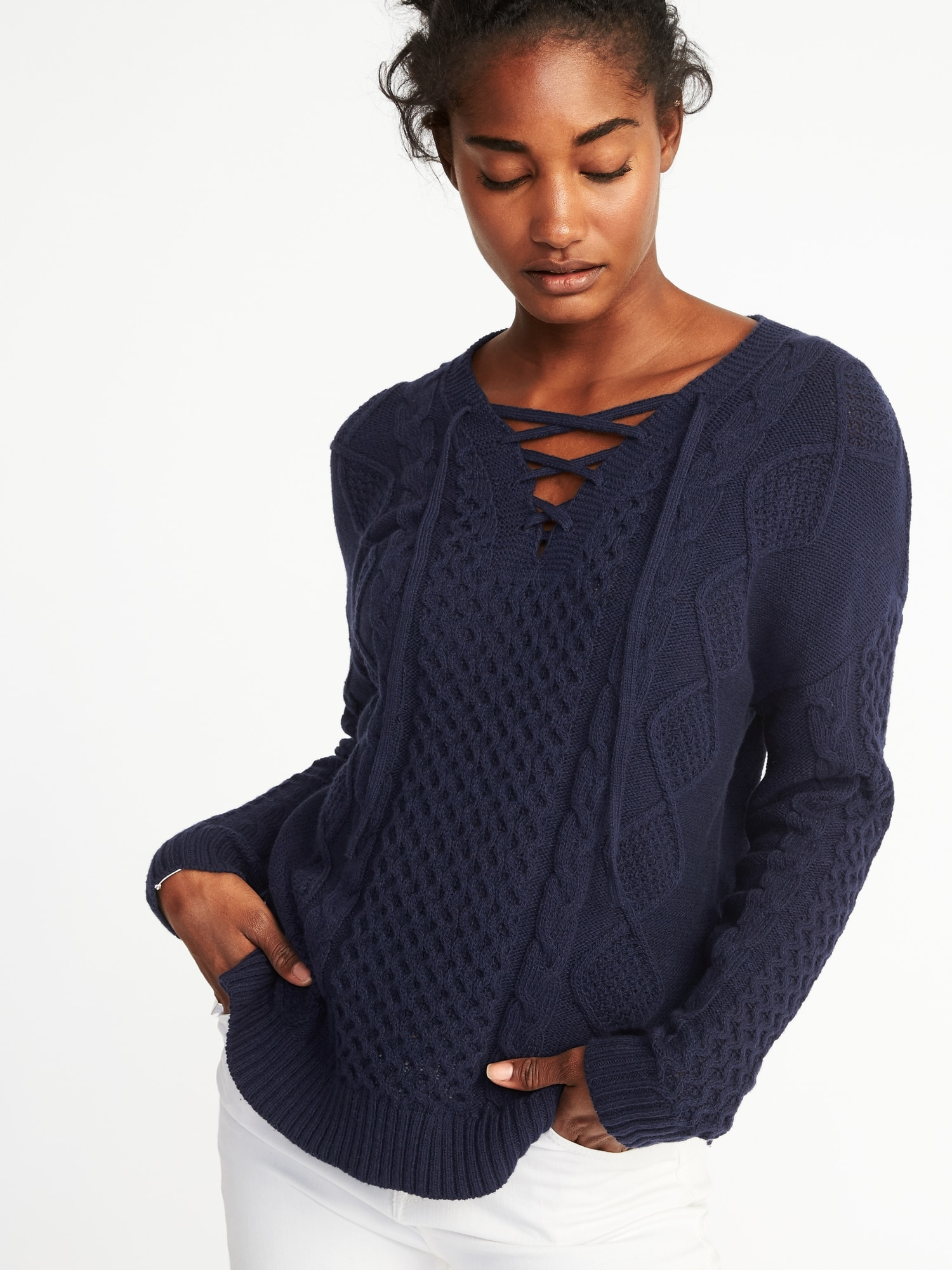 Cable-Knit Lace-Up Sweater for Women | Old Navy