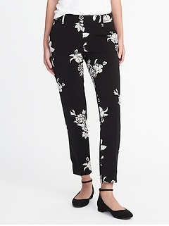 Mid-Rise Printed Harper Ankle Pants for Women