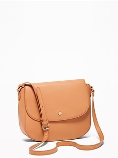 Faux-Leather Saddle Bag for Women