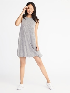 Plush-Knit Sleeveless Swing Dress for Women