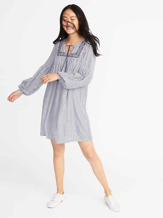 Striped Embroidered Shift Dress for Women