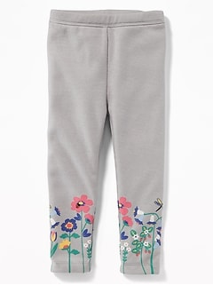 Graphic Cozy-Lined French Terry Leggings for Toddler Girls