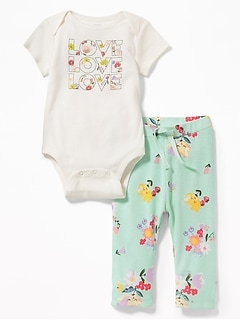 2-Piece Graphic Bodysuit and Leggings Set for Baby