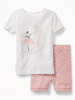 Ballerina-Graphic Sleep Set for Toddler & Baby