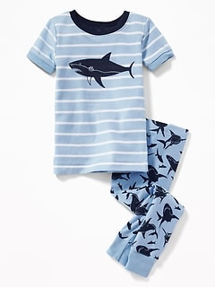 Shark-Graphic Sleep Set for Toddler Boys & Baby
