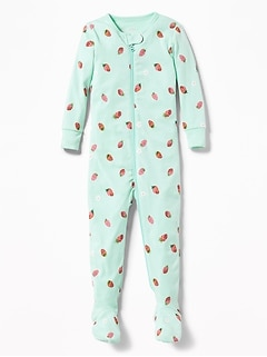 Strawberry-Print Footed One-Piece Sleeper for Toddler & Baby