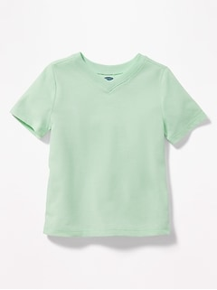 Solid V-Neck Tee for Toddler Boys