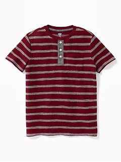 Striped Textured-Jacquard Henley for Boys