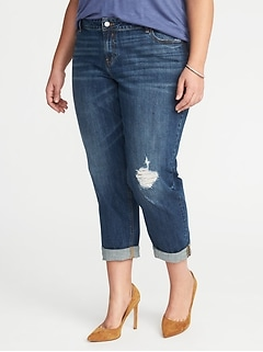 Plus-Size Distressed Boyfriend Skinny Jeans