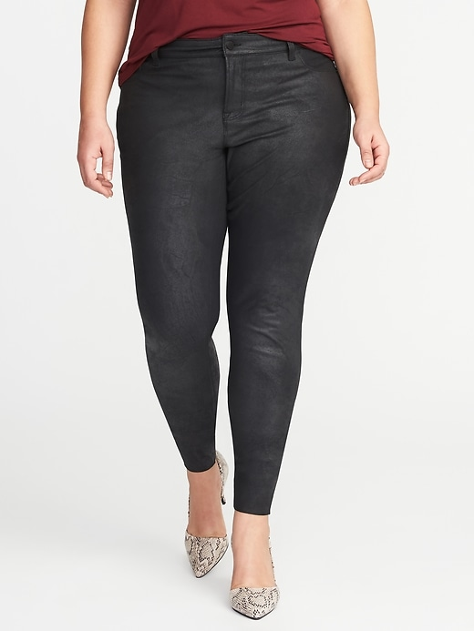 Smooth & Slim Plus-Size Coated Rockstar Jeans