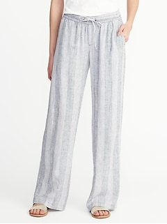 Striped Linen-Blend Soft Pants for Women
