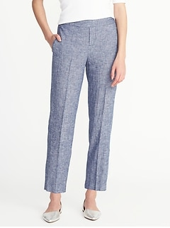Mid-Rise Pull-On Linen-Blend Pants for Women