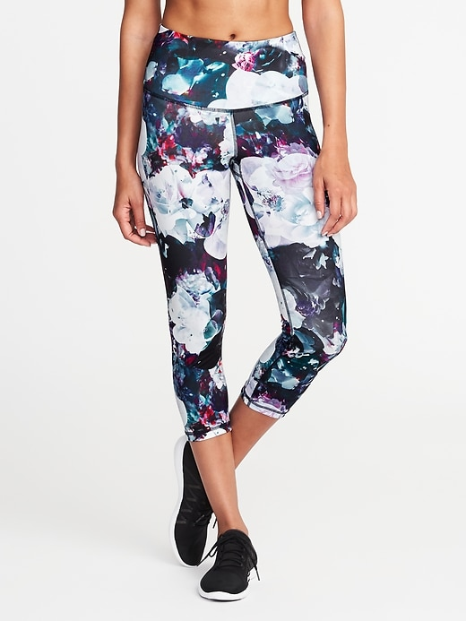 Mid-Rise Floral-Print Compression Leggings