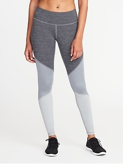 Mid-Rise Elevate Color-Block Compression Leggings for Women