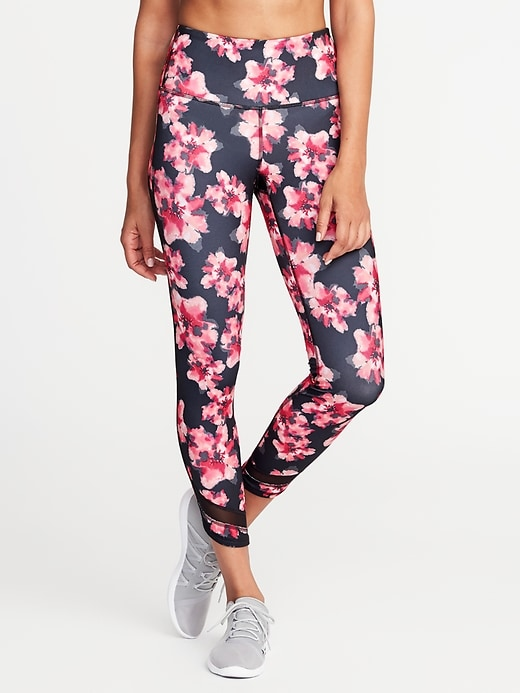 High-Rise 7/8-Length Floral-Print Mesh-Trim Compression Leggings