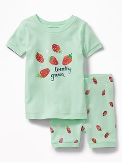 """Locally Grown"" Strawberry-Graphic Sleep Set for Toddler & Baby"