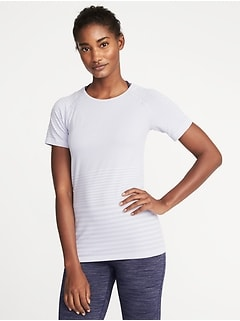 Seamless Melange-Stripe Top for Women