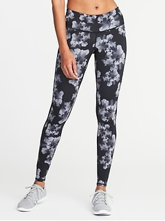 Mid-Rise Floral-Print Run Leggings for Women