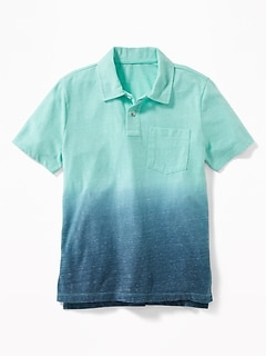 Dip-Dyed Slub-Knit Jersey Polo for Boys