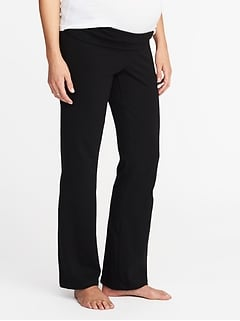Maternity Roll-Panel Boot-Cut Yoga Pants