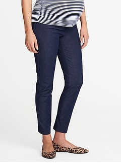 Maternity Side-Panel Denim-Look Pixie Pants