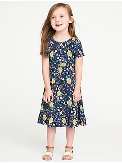 Floral-Print Jersey Midi for Toddler Girls