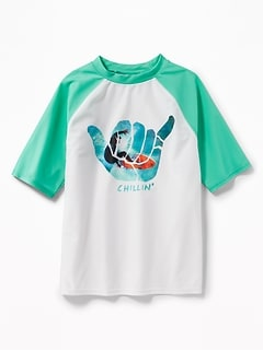 Graphic Raglan-Sleeve Rashguard for Boys