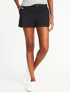 Relaxed Mid-Rise Everyday Khaki Shorts For Women - 3.5 inch inseam