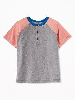 Color-Blocked Raglan-Sleeve Henley for Toddler Boys