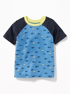 Printed Raglan-Sleeve Tee for Toddler Boys