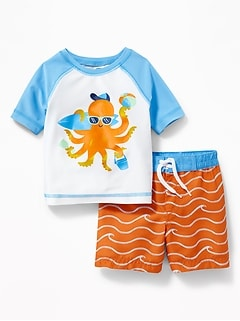 Graphic Rashguard & Swim Trunks Set for Baby