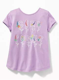 Graphic Bow-Tie Back Jersey Tunic for Toddler Girls