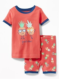 """Good Vibes"" Pineapple Sleep Set for Toddler Boys & Baby"