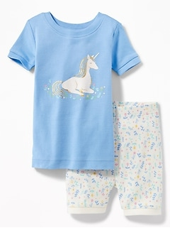 Unicorn Graphic & Printed Shorts Sleep Set for Toddler & Baby